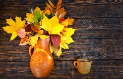 Vista superior do jarro bonito da argila com folhas e trigo de outono próximo Fotos de Stock