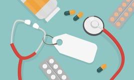 Vista superior do local de trabalho do doutor Estetoscópio e comprimidos médicos no estilo liso ilustração do vetor