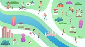A vista superior do parque público da cidade com rio, a ponte e os povos de passeio vector o illustrastion ilustração stock