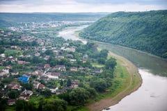 Vista superior do rio Dniester Foto de Stock