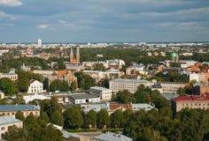 Vista superior do subúrbio de Latgale, Riga, Letónia Fotografia de Stock