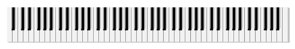 Vista superior do teclado de piano monocromático liso simplificado ilustração stock