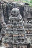 A vista superior do templo de Kailsa, pedra hindu antiga templo cinzelado, não cava nenhum 16, Ellora, Índia Foto de Stock Royalty Free