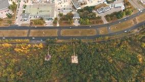 Vista superior em curvas e em linhas de estrada da cidade video estoque