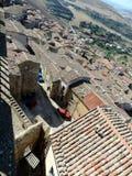 Vista superior em telhados de telha velhos da cidade medieval Imagem de Stock Royalty Free