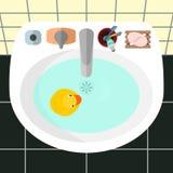 Vista superior em um dissipador em um banheiro com o pato de borracha amarelo Ilustração Stock