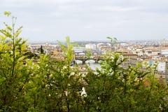 Vista superior a Florencia a través de arbustos verdes de Michelangelo Square Italia Fotografía de archivo