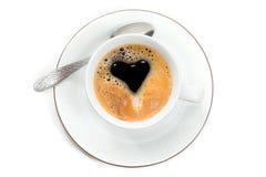 Vista superior a la taza de café express elaborado cerveza fresco con creama en forma de imagen de archivo