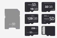 Vista superior micro SD ao adaptador do cartão de memória do SD Memória Chip Isolate Fotografia de Stock Royalty Free