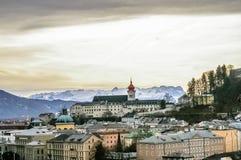 Vista superior na cidade no inverno, Salzburg Áustria de Salzburg Fotografia de Stock