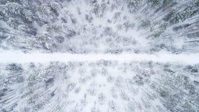 Vista superior na estrada escorregadiço invernal que passa através da floresta conífera coberto de neve imagens de stock