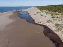 Vista superior na floresta e no rio que flui no litoral do mar ao mar foto de stock