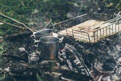 Vista superior na fogueira com carne da galinha Foto de Stock