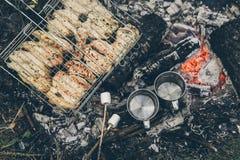 Vista superior na fogueira com carne da galinha Fotografia de Stock Royalty Free