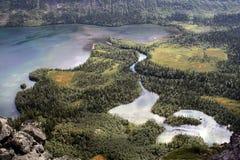 A vista superior na inundação do rio Fotos de Stock