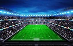 Vista superior no estádio de futebol com os fãs nos suportes Fotos de Stock