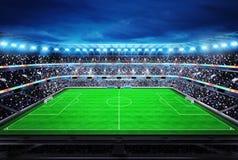Vista superior no estádio de futebol moderno com os fãs nos suportes Fotografia de Stock Royalty Free