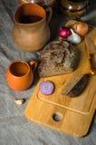 Vista superior no pão caseiro Imagens de Stock