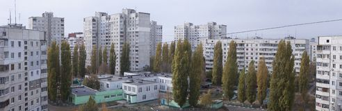 Vista superior panorámica de una vecindad residencial foto de archivo