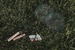 Vista superior Raquetes de badminton com uma mosca na grama fotos de stock