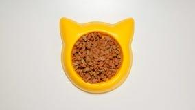 VISTA SUPERIOR: Refeição do gato em um prato amarelo do animal de estimação Fotos de Stock Royalty Free