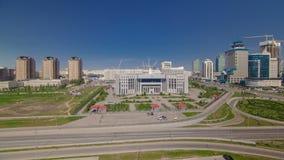 Vista superior sobre o distrito financeiro Timelapse do centro da cidade e da central, Cazaquistão, Astana video estoque