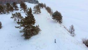 Vista superiore aerea di un fiume congelato fra la neve Paesaggio aereo di inverno Tiro dell'elicottero video d archivio