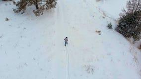 Vista superiore aerea di un fiume congelato fra la neve Paesaggio aereo di inverno Tiro dell'elicottero stock footage