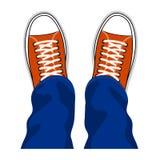 Vista superiore alla moda delle scarpe delle scarpe da tennis della gioventù illustrazione di stock