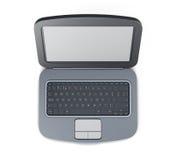 Vista superiore 3d che rende computer portatile nero Fotografia Stock Libera da Diritti