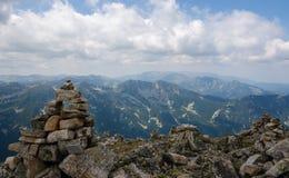 Vista superiore dal picco di Musala, Bulgaria Immagine Stock