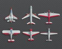 Vista superiore degli ærei militari e degli aeroplani icone di vettore dell'aereo di linea 3d e del combattente illustrazione di stock