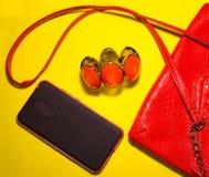 Vista superiore degli accessori e del telefono femminili su un fondo blu Immagine Stock Libera da Diritti
