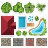 Giardino disegno Tetto : ... degli elementi di vettore di progettazione del giardino del paesaggio