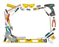 Vista superiore degli strumenti e degli strumenti della costruzione isolati su fondo bianco con lo spazio della copia al centro Fotografie Stock