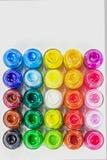 vista superiore dei colori di manifesto nel quadrato su fondo bianco Fotografie Stock