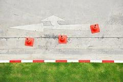 Vista superiore dei coni di traffico Fotografia Stock Libera da Diritti