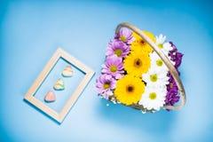 Vista superiore dei cuori floreali della pralina del belga e della decorazione incorniciati su fondo blu fotografia stock libera da diritti