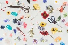 Vista superiore dei fiori colorati con le forbici ed il coltello della cancelleria fotografia stock