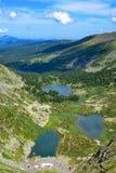 Vista superiore dei laghi Karakol in montagne di Altai Fotografie Stock Libere da Diritti