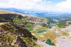 Vista superiore dei laghi Karakol in montagne di Altai Fotografia Stock Libera da Diritti
