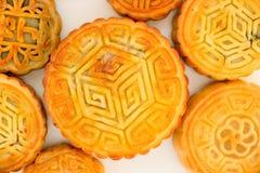 Vista superiore dei mooncakes cinesi Fotografie Stock
