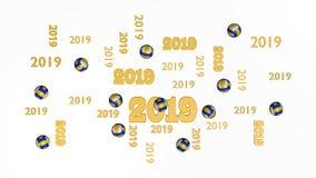 Vista superiore dei parecchi beach volley 2019 progettazioni con una certa palla Royalty Illustrazione gratis