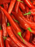 Vista superiore dei peperoncini rossi Fotografia Stock