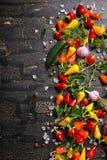 Vista superiore dei peperoni asciutti e variopinti dell'aglio, sale marino Fotografia Stock