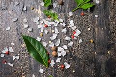 Vista superiore dei peperoni, del sale marino, dell'alloro, dell'aneto e del prezzemolo asciutti sulla c Fotografia Stock