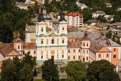 Vista superiore del Aeral per le gesuite monastero ed il seminario, Kremenets, Ucraina Fotografia Stock