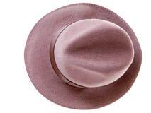 Vista superiore del cappello dell'uomo del feltro del Brown Fotografie Stock