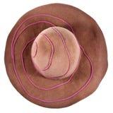 Vista superiore del cappello di feltro marrone del vasto-bordo immagini stock