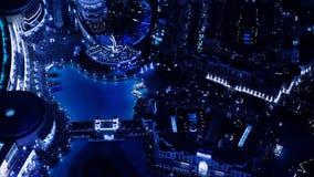 Vista superiore del centro commerciale del Dubai di notte stock footage